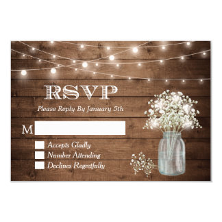 Baby's Breath Mason Jar String Lights Wedding RSVP Card