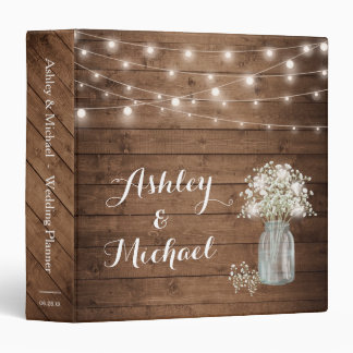 Baby's Breath Mason Jar String Lights Wedding Vinyl Binder