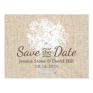 Baby's Breath Mason Jar Wedding Save the Date Postcard