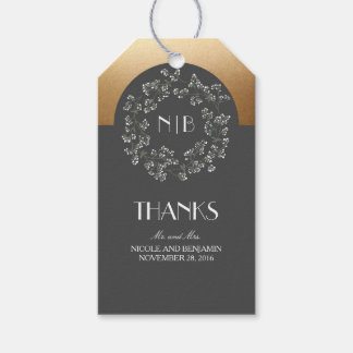 Baby's Breath Monogram Gold Grey Wedding Pack Of Gift Tags