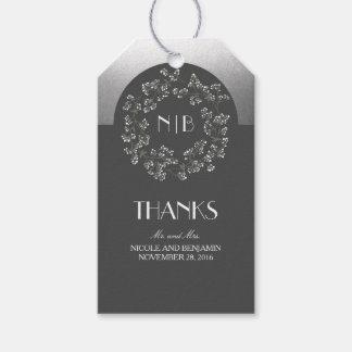 Baby's Breath Monogram Silver Grey Wedding Gift Tags