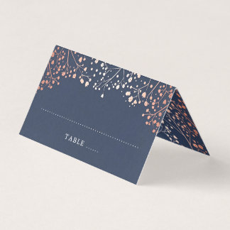 Baby's Breath Navy Blue and Rose Gold Wedding Place Card