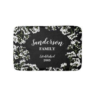 Babys Breath on Black Personalized Family Bath Mat