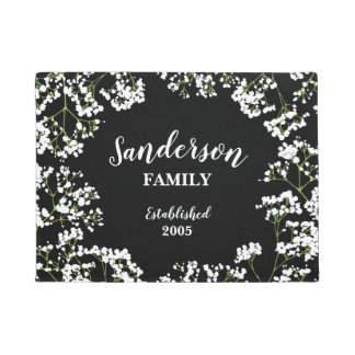 Babys Breath on Black Personalized Family Doormat