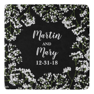 Babys Breath Personalized Wedding Date on Black Trivet