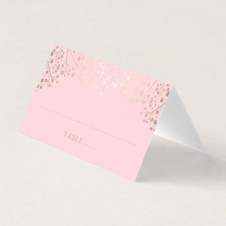Baby's Breath Pink and Gold Wedding Place Card