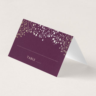 Baby's Breath Plum and Gold Wedding Place Card