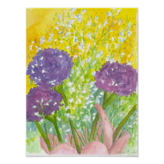 Baby's Breath Purple Flower Bouquet Poster