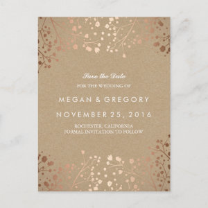 baby's breath rose gold floral save the date announcement postcard