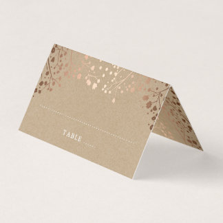 Baby's Breath Rose Gold Foil Effect Wedding Place Card