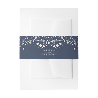 Baby's Breath Rose Gold Style Navy Wedding Invitation Belly Band