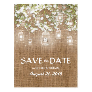 Baby's Breath Rustic Burlap Save the Date Postcard