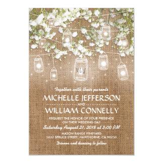 Baby's Breath Rustic Burlap Wedding Card