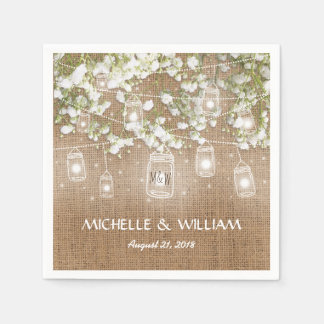Baby's Breath Rustic Burlap Wedding Paper Napkin