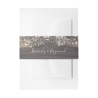 Baby's Breath Rustic Floral Wedding Invitation Belly Band