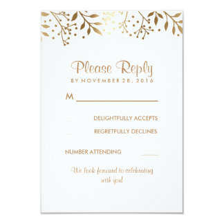"Baby's Breath Rustic Gold White Wedding RSVP Cards 3.5"" X 5"" Invitation Card"