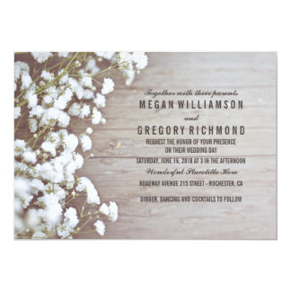 "Baby's Breath Rustic Wedding 5"" X 7"" Invitation Card"