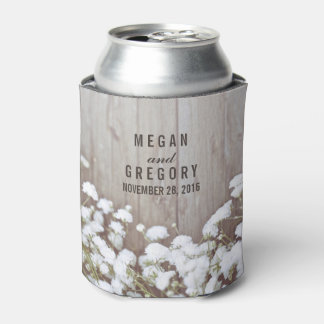 Baby's Breath Rustic Wedding Can Cooler