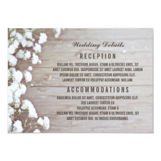 "Baby's Breath Rustic Wedding Details / Information 4.5"" X 6.25"" Invitation Card"
