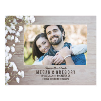 baby's breath rustic wood photo save the date postcard