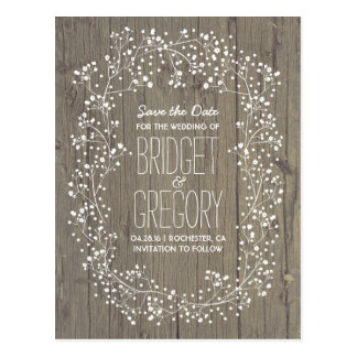 Baby's Breath Rustic Wood Save the Date Postcard