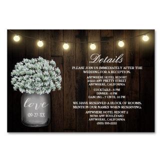 Babys Breath Wedding Reception Accommodation Cards