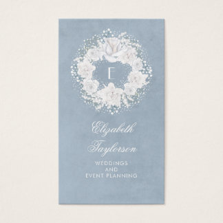 Baby's Breath White and Dusty Blue Floral Business Card