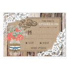 Baby's Breath Wood Lace Rustic RSVP Card