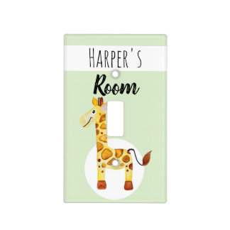 Baby's Cute Watercolor Giraffe Safari Nursery Light Switch Cover