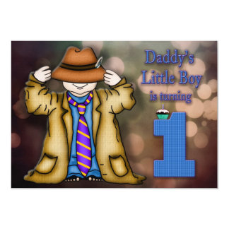 "BABY'S FIRST BIRTHDAY - BOY - DADDY'S LITTLE BOY 5"" X 7"" INVITATION CARD"