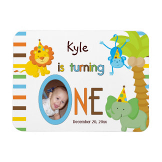 Babys First Birthday Customizable Party Favor Rectangular Photo Magnet