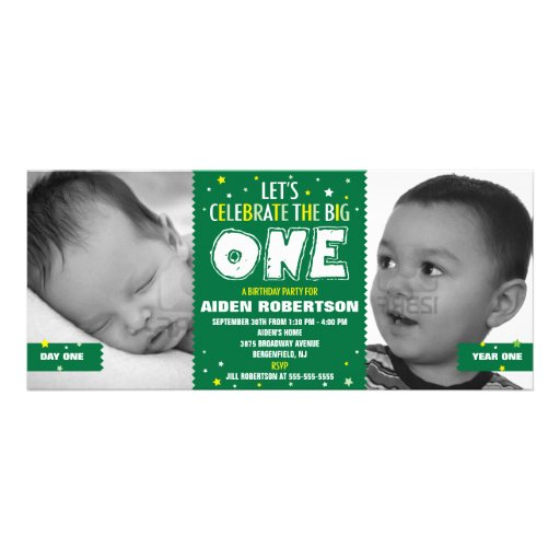 Baby's First Birthday Green Personalized Announcements