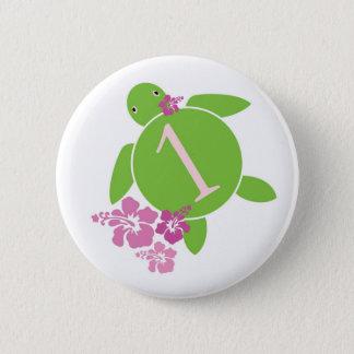 Baby's First Birthday Honu & Hibiscus Button