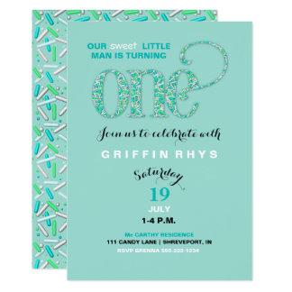 "Baby's First Birthday Mint & Aqua Sprinkles 5"" X 7"" Invitation Card"