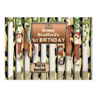 "BABY'S FIRST BIRTHDAY PARTY INVITATION - MONKEYS 5"" X 7"" INVITATION CARD"