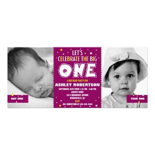 Baby's First Birthday Purple Custom Invite