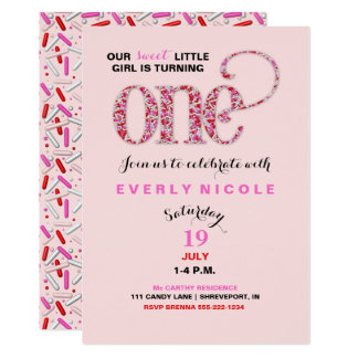 """Baby's First Birthday Red Pink Sprinkles 5"""" X 7"""" Invitation Card"""