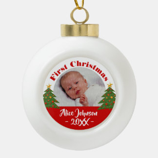 Baby's First Christmas 20XX | Your Photo Ceramic Ball Christmas Ornament