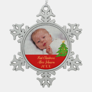 Baby's First Christmas 20XX | Your Photo Snowflake Pewter Christmas Ornament