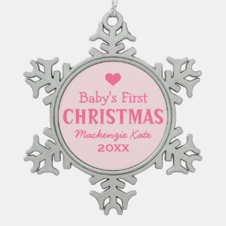 Baby's First Christmas | Baby Girl Pewter Snowflake Ornament