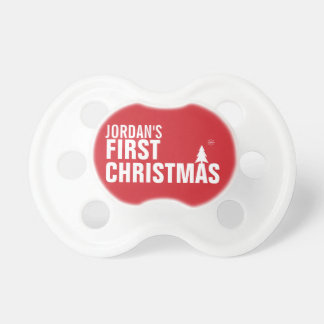 Baby's First Christmas Baby Pacifier Red