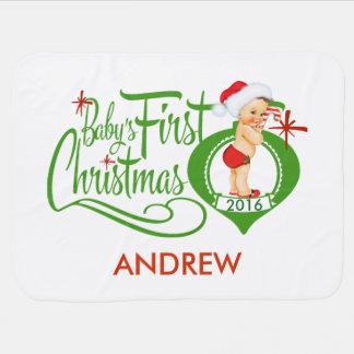 Baby's First Christmas Blanket Receiving Blanket