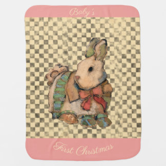 Baby's First Christmas Bunny w Socks on Checkers Baby Blanket