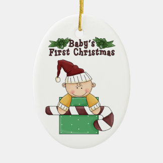 Baby's First Christmas Candy Cane Ceramic Ornament