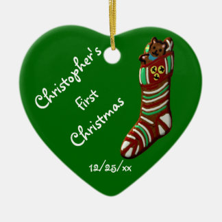 """""""Baby's First Christmas"""" - Christmas Stocking Ceramic Heart Ornament"""