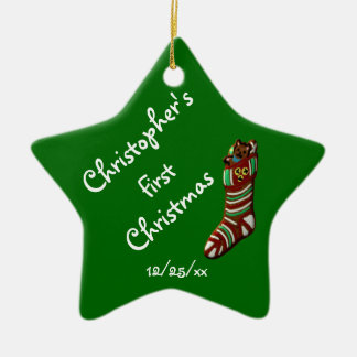 """""""Baby's First Christmas"""" - Christmas Stocking Ceramic Ornament"""