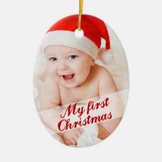 Baby's First Christmas Cursive Holiday Photo Ceramic Ornament