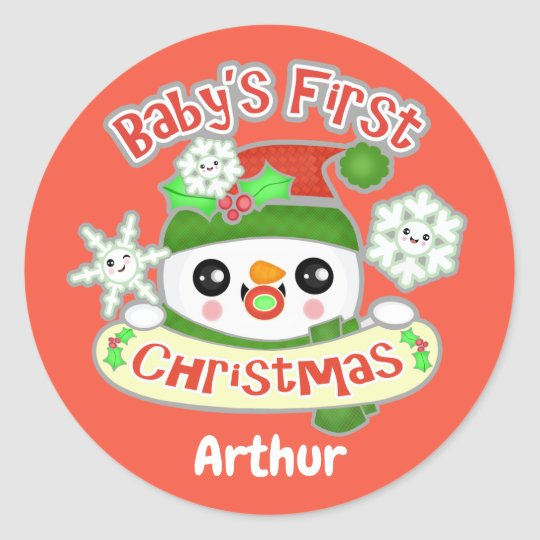 Baby's First Christmas Custom Snowman Stickers