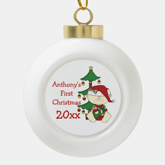 Baby's First Christmas-Customize Name/Year Ceramic Ball Ornament