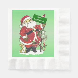 Baby's First Christmas Cute Santa Sign Disposable Napkin